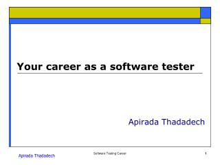 Your career as a software tester