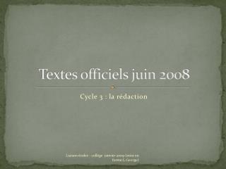 Textes officiels juin 2008