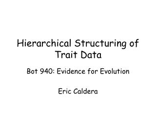 Hierarchical Structuring of Trait Data