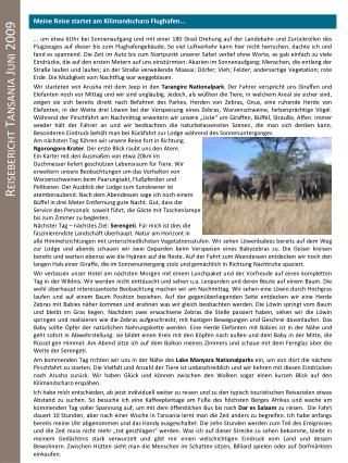 Reisebericht Tansania Juni 2009