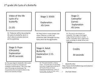 2 nd  grade Life Cycle of a Butterfly