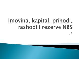 I movina, kapital, prihodi, rashodi i rezerve NBS