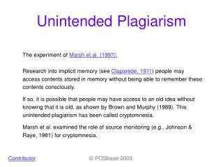 Unintended Plagiarism