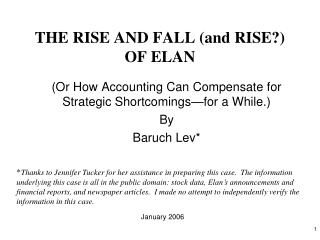 THE RISE AND FALL (and RISE?) OF ELAN