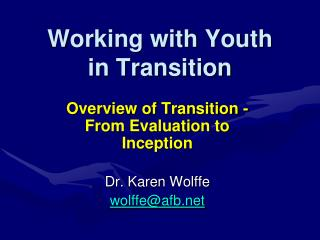 Working with Youth  in Transition