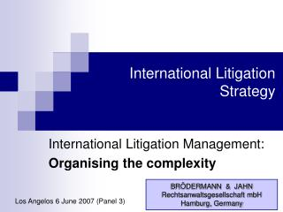 International Litigation Strategy