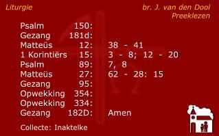 Liturgie br. J. van den Dool Preeklezen