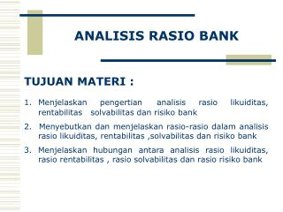 ANALISIS  RASIO  BANK