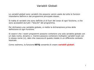 Variabili Globali