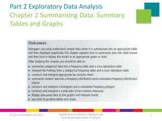 Part 2 Exploratory Data Analysis Chapter 2 Summarising Data: Summary Tables and Graphs