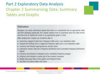 Part 2 Exploratory Data Analysis Chapter 2 Summarising Data: Summary Tables and Graphs