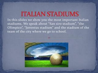 ITALIAN STADIUMS
