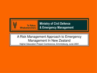 A Risk Management Approach to Emergency Management In New Zealand