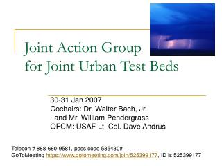 Joint Action Group  for Joint Urban Test Beds