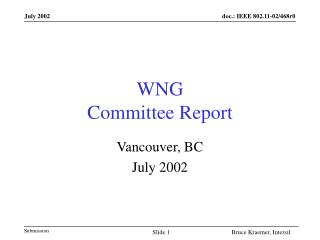 WNG  Committee Report