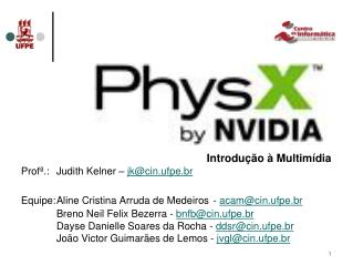 Introdução à Multimídia Profª.:Judith Kelner –  jk@cin.ufpe.br