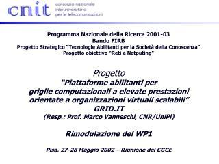 Programma Nazionale della Ricerca 2001-03 Bando FIRB
