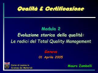 Qualità & Certificazione