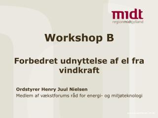 Workshop B Forbedret udnyttelse af el fra vindkraft