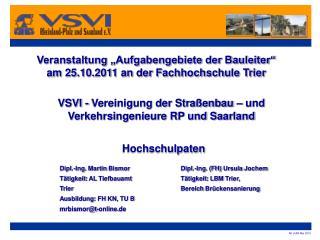 """Veranstaltung """"Aufgabengebiete der Bauleiter"""" am 25.10.2011 an der Fachhochschule Trier"""
