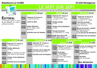 10h15   Matinale TV  France 5 11h45    «Documentaires  »  au salon TV 1 er   étage