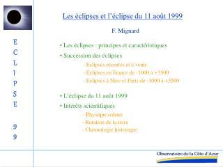 Les �clipses et l��clipse du 11 ao�t 1999
