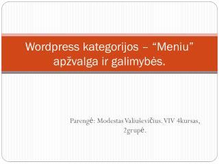 """Wordpress kategorijos – """"Meniu"""" apžvalga ir galimybės."""
