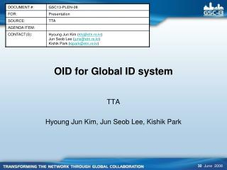 OID for Global ID system