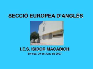 SECCIÓ EUROPEA D'ANGLÈS
