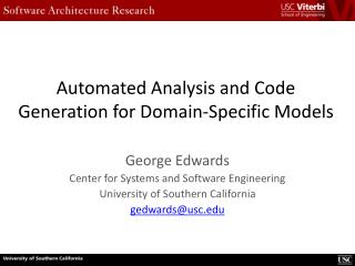 Automated Analysis and Code Generation for Domain-Specific Models