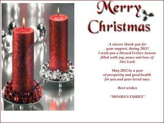 A sincere thank you for your support, during 2011! I wish you a blessed Festive Season