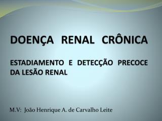 DOENÇA RENAL CRÔNICA ESTADIAMENTO E DETECÇÃO PRECOCE DA LESÃO RENAL