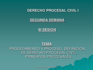 DERECHO PROCESAL CIVIL I SEGUNDA SEMANA III SESION TEMA :