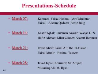 Presentations-Schedule
