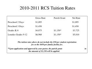 2010-2011 RCS Tuition Rates