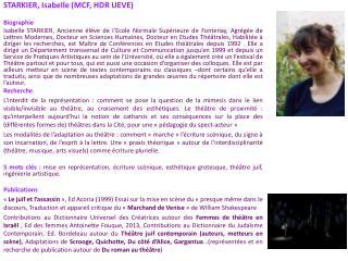 STARKIER, Isabelle (MCF, HDR UEVE) Biographie