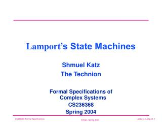 Lamport 's State Machines