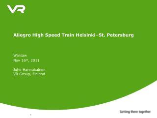 Allegro High Speed Train Helsinki–St. Petersburg