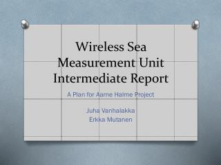 Wireless Sea Measurement  Unit Intermediate Report