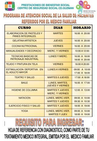 PROGRAMA DE ATENCION SOCIAL DE LA SALUD DE PACIENTES  REFERIDOS POR EL MEDICO FAMILIAR
