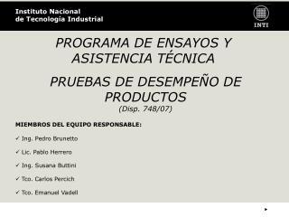 PROGRAMA DE ENSAY OS Y ASISTENCIA TÉCNICA