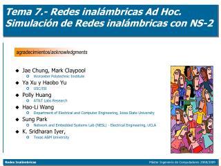 Tema 7.- Redes inalámbricas Ad Hoc. Simulación de Redes inalámbricas con NS-2