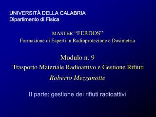 """UNIVERSIT À DELLA CALABRIA Dipartimento di Fisica MASTER  """"FERDOS"""""""
