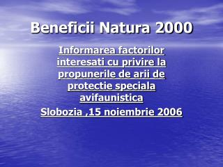 Beneficii Natura 2000