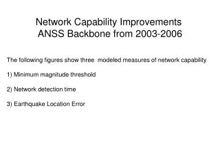 The following figures show three  modeled measures of network capability