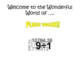 Welcome to the Wonderful World of ….