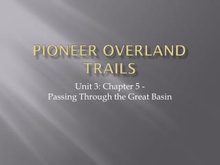 Pioneer Overland Trails