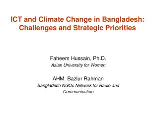 ICT and Climate Change in Bangladesh: Challenges and Strategic Priorities