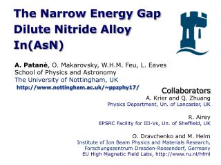 The Narrow Energy Gap  Dilute Nitride Alloy  In( AsN )