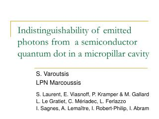 Indistinguishability of emitted photons from  a semiconductor quantum dot in a micropillar cavity